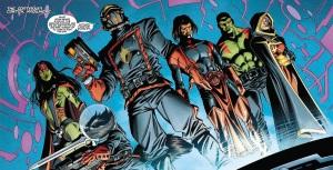 From left to right: Gamora, Rocket Raccoon, Star-Lord, Adam Warlock, Drax, Phyla-Vell.